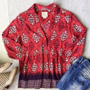 Anthropologie Maeve Button Boho Blouse
